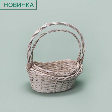 20/0008О Корзина плетеная овал белая из 2-х (30х23хh35)(27х20хh30)