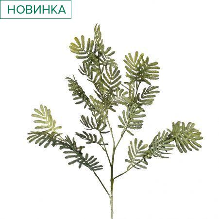 7143/0016-35/22 Ветка лист мимозы искусственная, мятная, h 75 см (40+35)