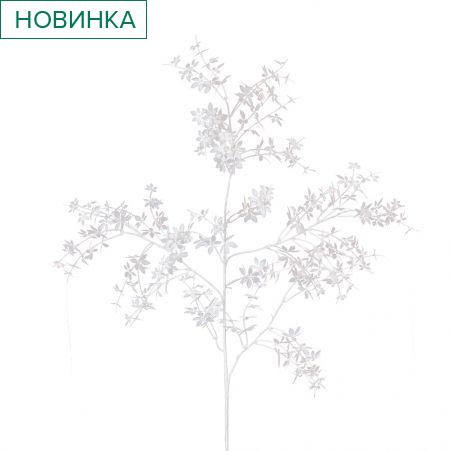7143/0041-6/4-1 Ветка Конопли искусственная,бело-кремовая. h 105 см (60+45)