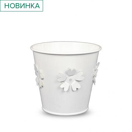 22/7110С Кашпо металл белое выбит.цветок h-10см
