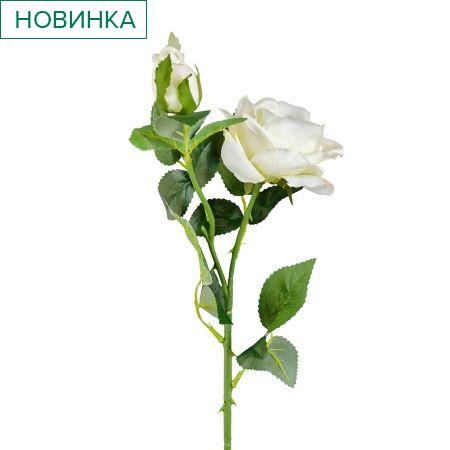 7141/9182-1/23Р Роза ветка (голова+1бутон) 70см (белая)