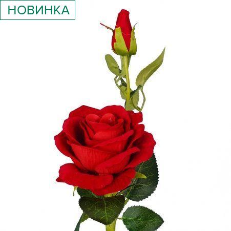 7141/0044-1/2Р Роза искусственная (красная) h 30см (1г.2б.)