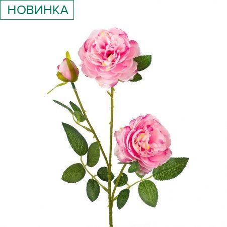 7141/0044-4/8Р Роза пионовидная искусственная  h 64см сиреневая (2г.1б.)