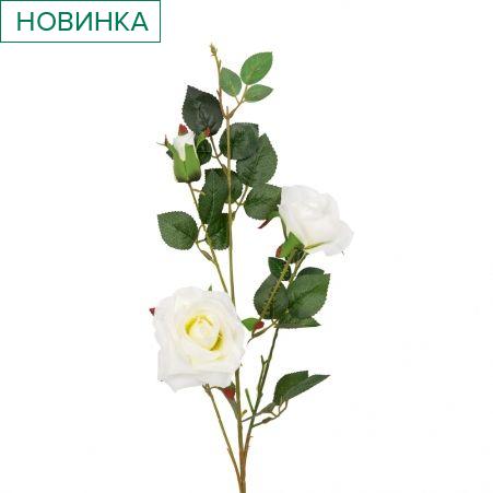 401/1116-23C Роза ветка h78см (белая)(2 головы+бутон)