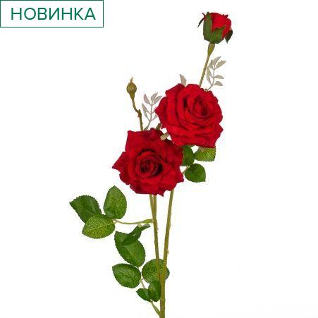 401/0055-2В Роза ветка h65см (красная)(2гол+бут.)
