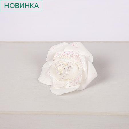 7146/0409-2 Голова розы с блестками d6см (25шт/уп)