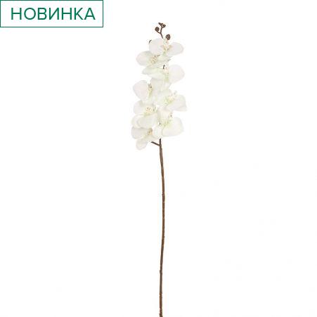 401/0218-19В Орхидея ветка сатиновая h92см (бело-зеленая)