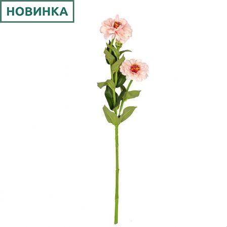 401/0127-5А Циния искусственная d10; h 60см светло-розовая (2г.1б.)