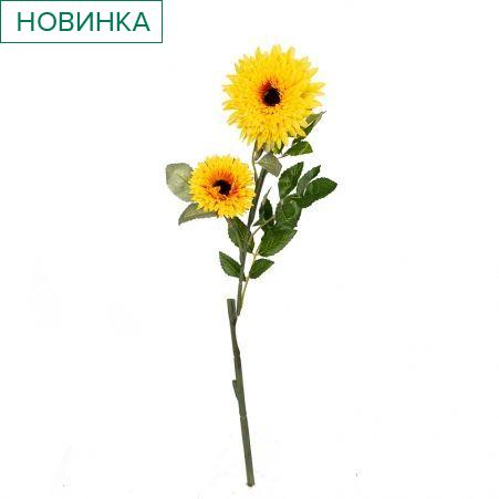401/0049-3В Астра ветка h67см (желтая)(2гол+1бутон)