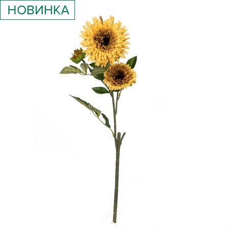 401/0049-14В Астра ветка h67см (бледно-желтая)(2гол+1бутон)