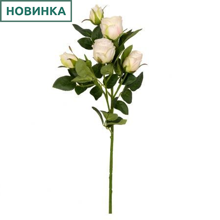 401/0173-4L Роза ветка d4; h63см (кремовый) *5б
