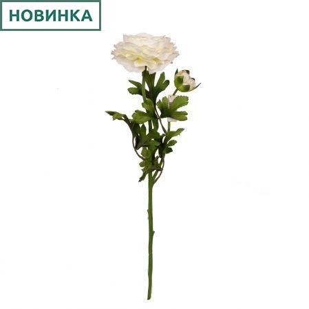 401/0178-23L Ранункулюс d12; h59см (белый) (1гол+1бут)