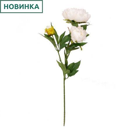 7141/9191-5/23 Пион 2гол. 1 бут.d12; h60см (белый)