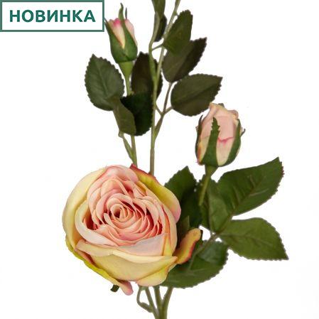 7141/9191-4/5 Роза 1гол+2бут. h72см (светло-розовая)