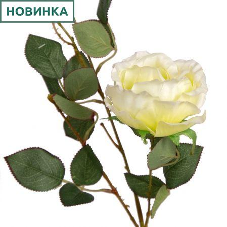 401/0139-4В Роза сатиновая ветка h93см(кремовая)(2гол+1бут)