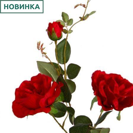 401/0139-2В Роза сатиновая ветка h93см(красная)(2гол+1бут)