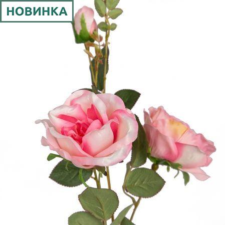 401/0139-1В Роза сатиновая ветка h93см(розовая)(2гол+1бут)