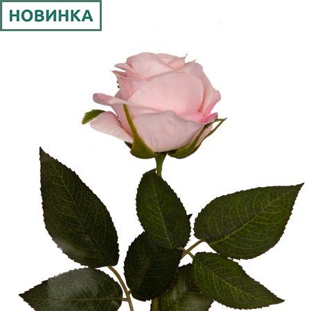 401/0391-20А Роза искусственная бархатная (бело-розовая) h 67см