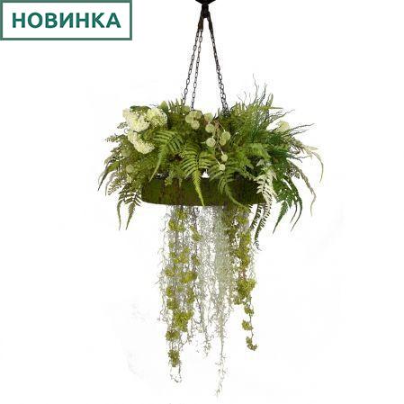 КЗ/27 Композиция с ампельными растениями на декорированной основе d58см с подсветкой на цепях