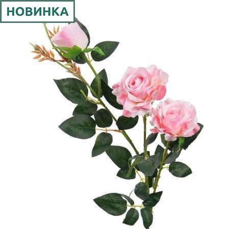 7141/А2783-01/20 Роза велюр бело/розов. h98см (2гол+1бут)