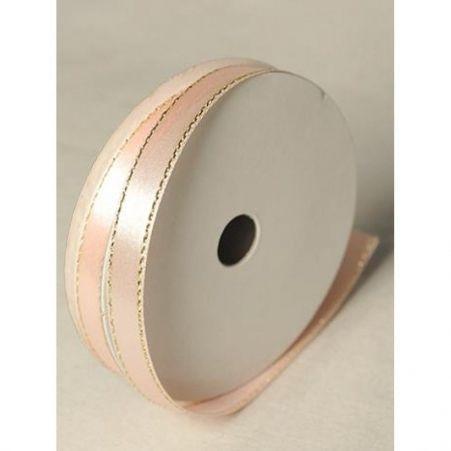 Лента атласная 1,0см (персик)с люриксом БТ (10м)