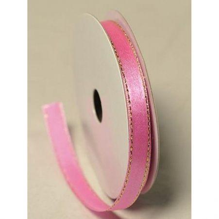Лента атласная 1,0см (розовый)с люриксом БТ (10м)
