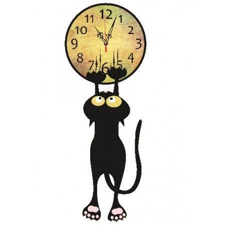 """801/005 Часы """"Кот с коготками"""" d-29 см"""