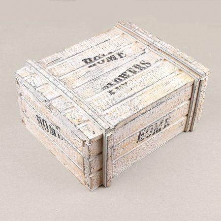 811/04-3/1 Сундук деревянный со штампом 22х17,5х10(бел-с)
