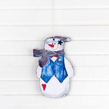 """807/006-3(Sale) Декор """"Снеговик на подвесе"""" (в син. шап)"""