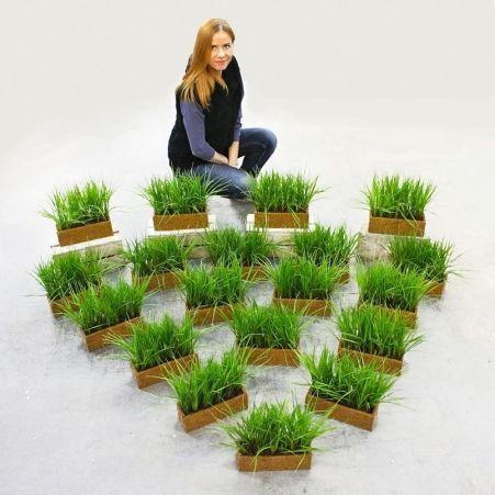 ТД032(Sale) Трава (зеленая) h23см(латекс) в кокосовом боксе 25*8*8