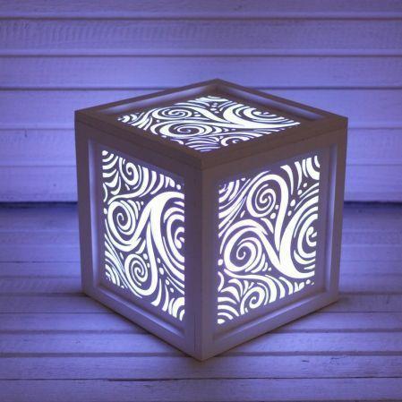 """816/06-3(Sale) Куб с подсветкой """"Узоры"""" 14*14*14"""