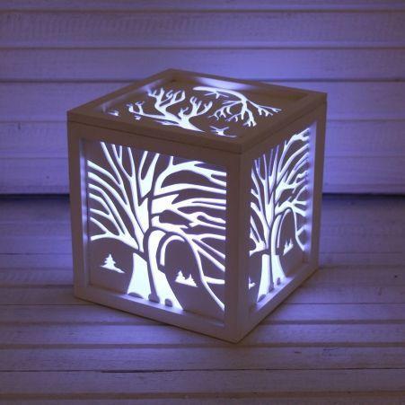 """816/06-4(Sale) Куб с подсветкой """"Деревья"""" 14*14*14"""