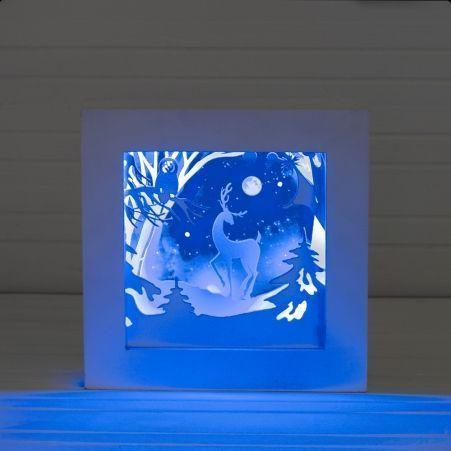"""816/03-2(Sale) Декор интер.с подсвет.""""Олень с совой""""25*2"""
