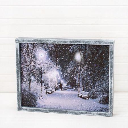 807/050-1(Sale) Интерьерная картина Снежный вечер со све