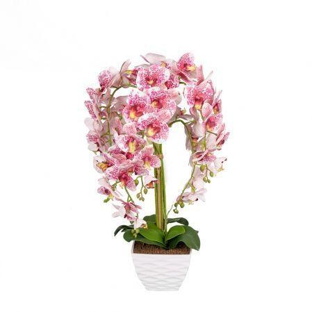 ЦК80*7/33-1 Орхидея (белая)h80см(латекс) в интерьерном кашпо d17см