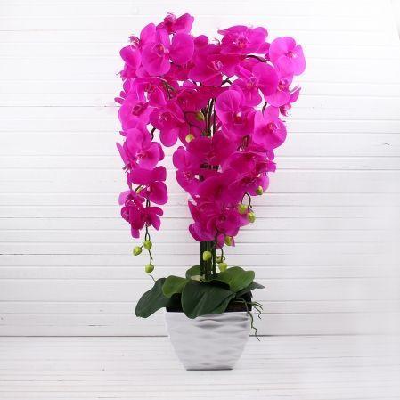 ЦК80*7/33-2 Орхидея (малиновая)h80см(латекс) в интерьерном кашпо d17см