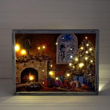 807/050-2(Sale) Интерьерная картина Елка у камина со све