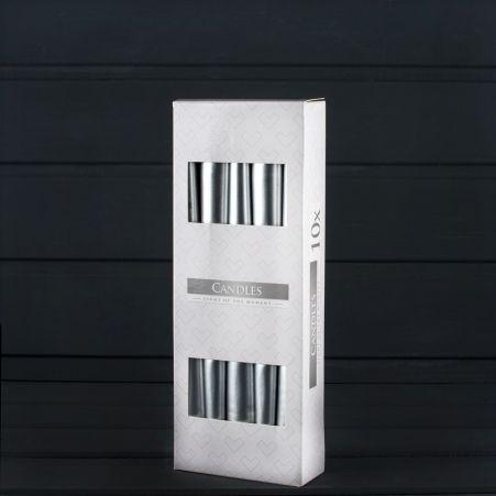 Свеча гладкая S30 мет. серебро (10 шт.) 271
