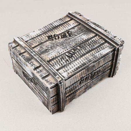 811/04-3/3 Сундук деревянный со штампом 22х17,5х10(черно-белый)