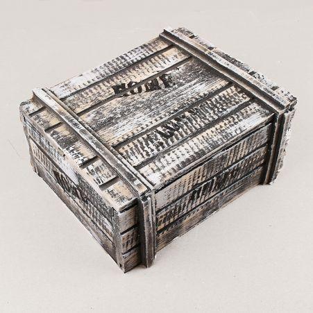 811/04-3/3(Акция) Сундук деревянный со штампом 22х17,5х10(черно-белый)
