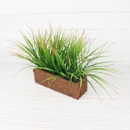 ТД032-1(Sale) Трава зеленая с бордовым (латекс) h23-24 см в кокосовом боксе