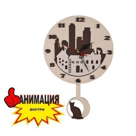 """801М/01-2(Sale) Часы с маятником d-29 """"Город с котами"""""""