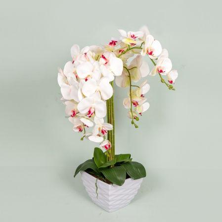 ЦК80*5/33-1 Орхидея Фаленопсис(белая) h65см(латекс) в интерьерном кашпо