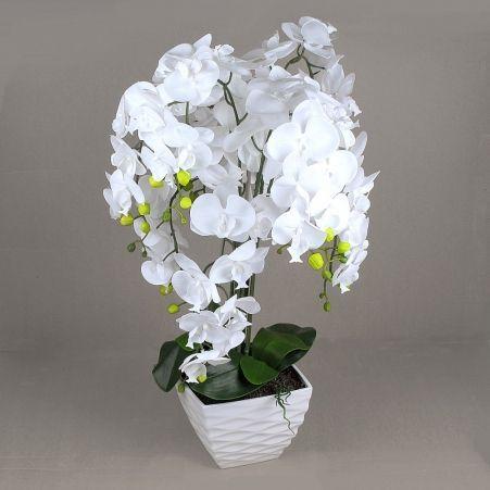 ЦК80*9/33-1 Орхидея Фаленопсис (белая)h80см(латекс) в интерьерном кашпо d17см