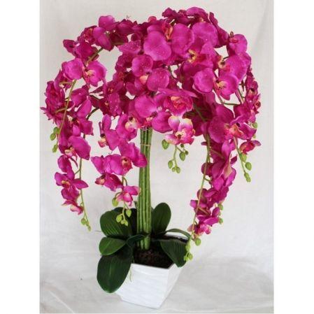 ЦК80*9/33-2 Орхидея Фаленопсис (малиновая)h80см(латекс) в интерьерном кашпо d17см