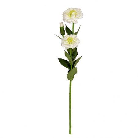 401/0127-23A Циния искусственная h 60см белая (2г.1б.)