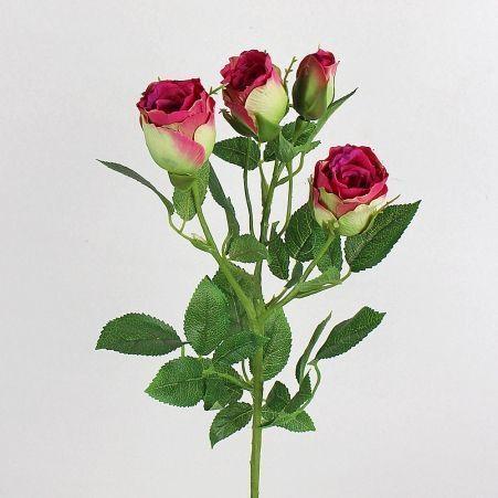 401/0544-15А Роза ветка искусственная h 72см малиновая