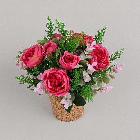 КС25-2 Роза пионовидная в кашпо (пурпурная)