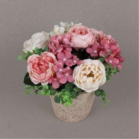 КС24-1 Роза с гортензией в кашпо (розовое)