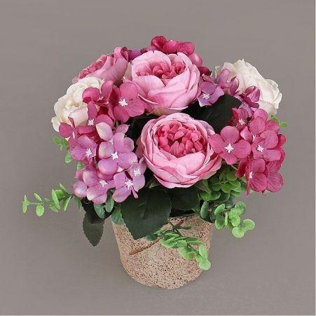 КС24-2 Роза с гортензией (пурпурная)h9см в кашпо d10см